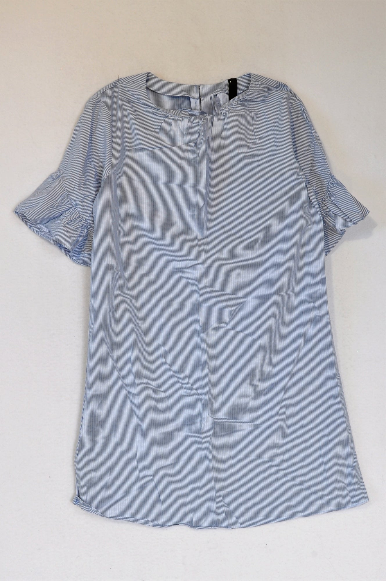 Woolworths Blue Pinstripe Frill Sleeve Shift Dress Women Size 8