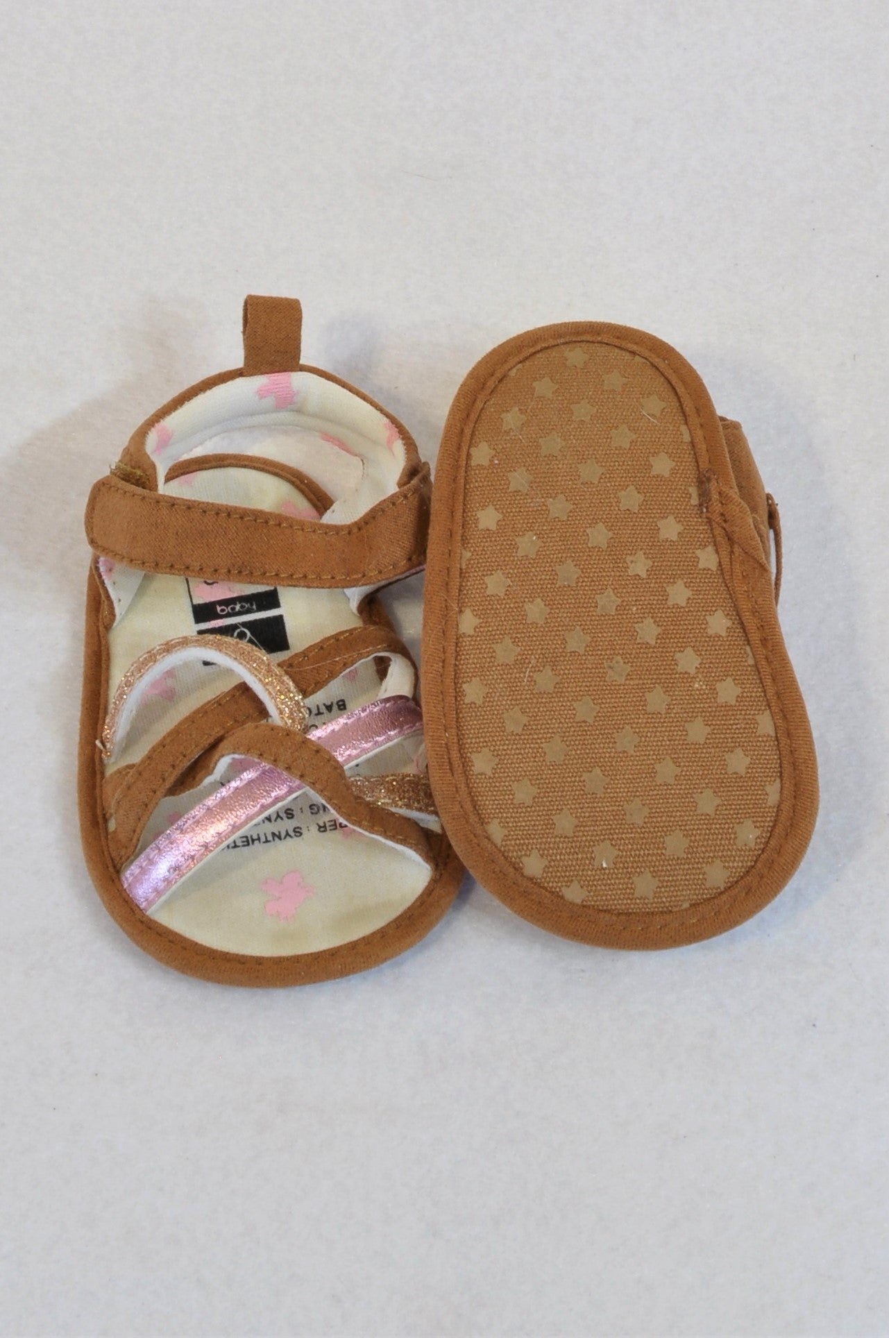 New Kids & Co Size 2 Brown Microsuede & Metallic Sandals Girls 6-9 months