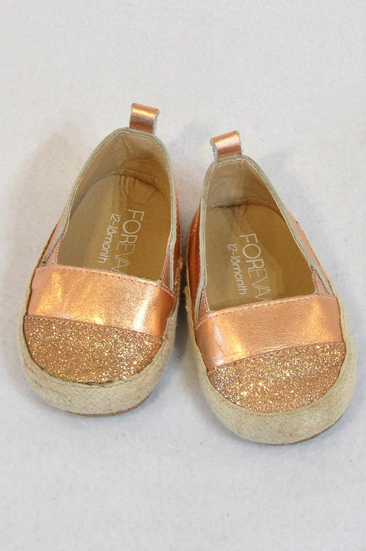 Forevav Size 3 Rose Gold Leather Espadrille Shoes Girls 9-12 months