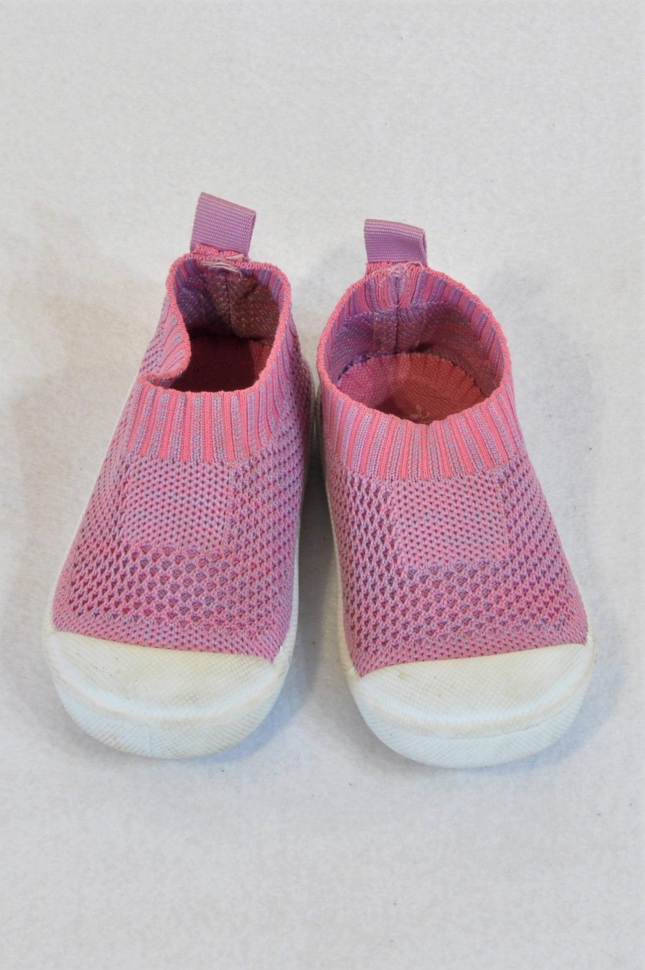 Woolworths Size 4 Pink Knit Slip On Shoes Girls 12-18 months