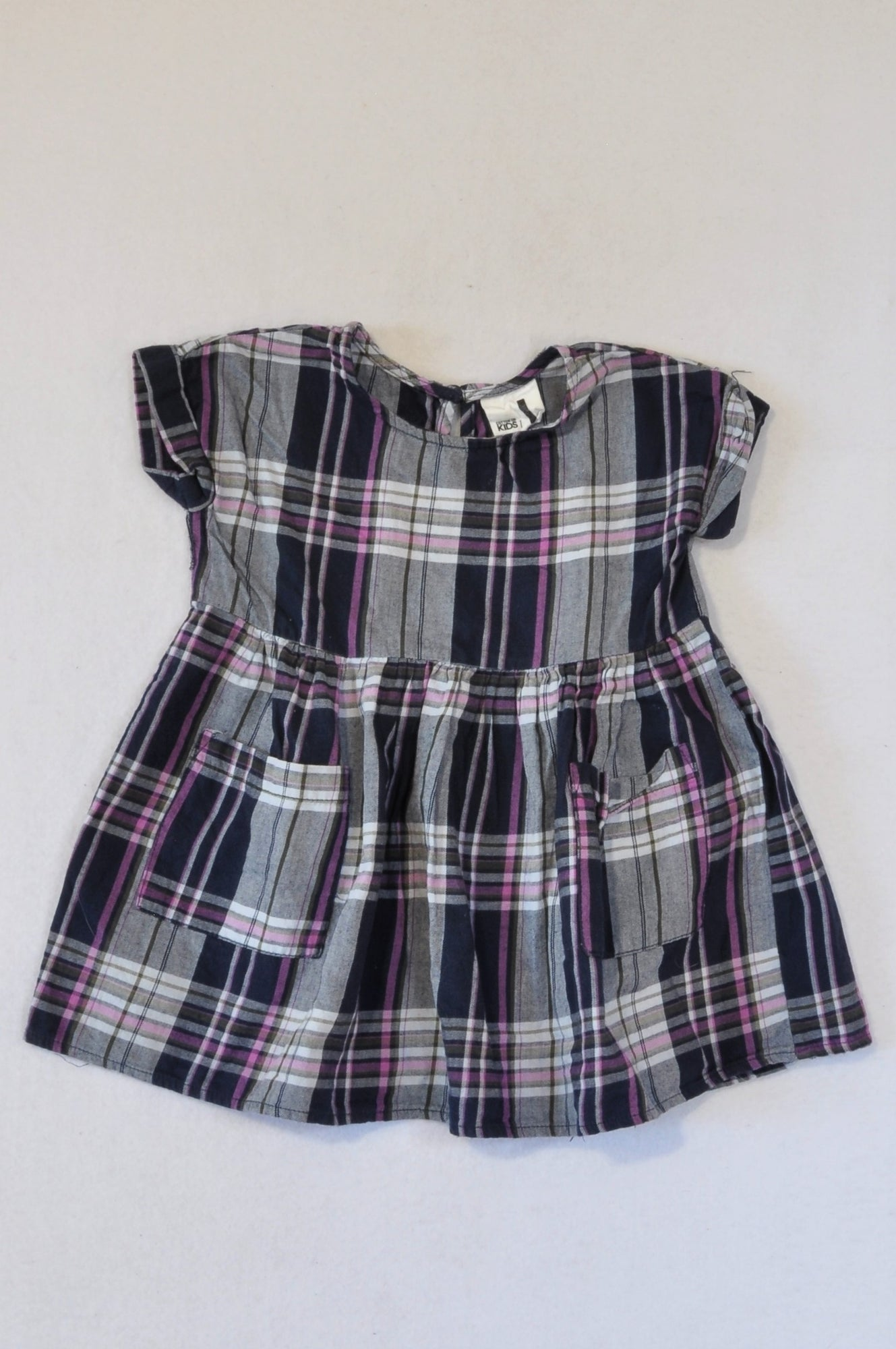 Cotton On Kids Navy & Purple Plaid Flannel Babydoll Dress Girls 12-18 months