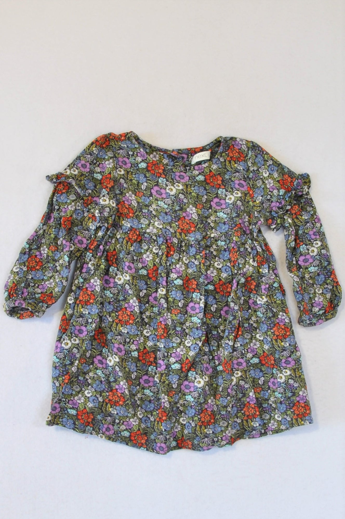 Next Navy & Purple Floral Long Sleeve Dress Girls 6-12 months