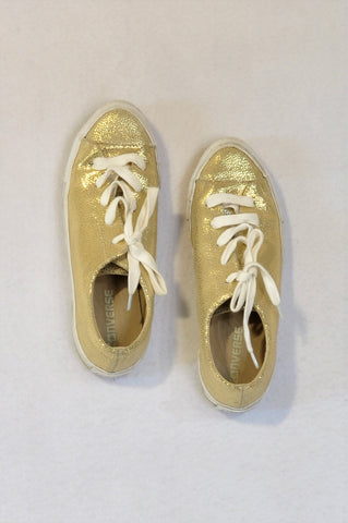 Converse Gold & White Sneaker Shoes Girls Youth/Women Size 5
