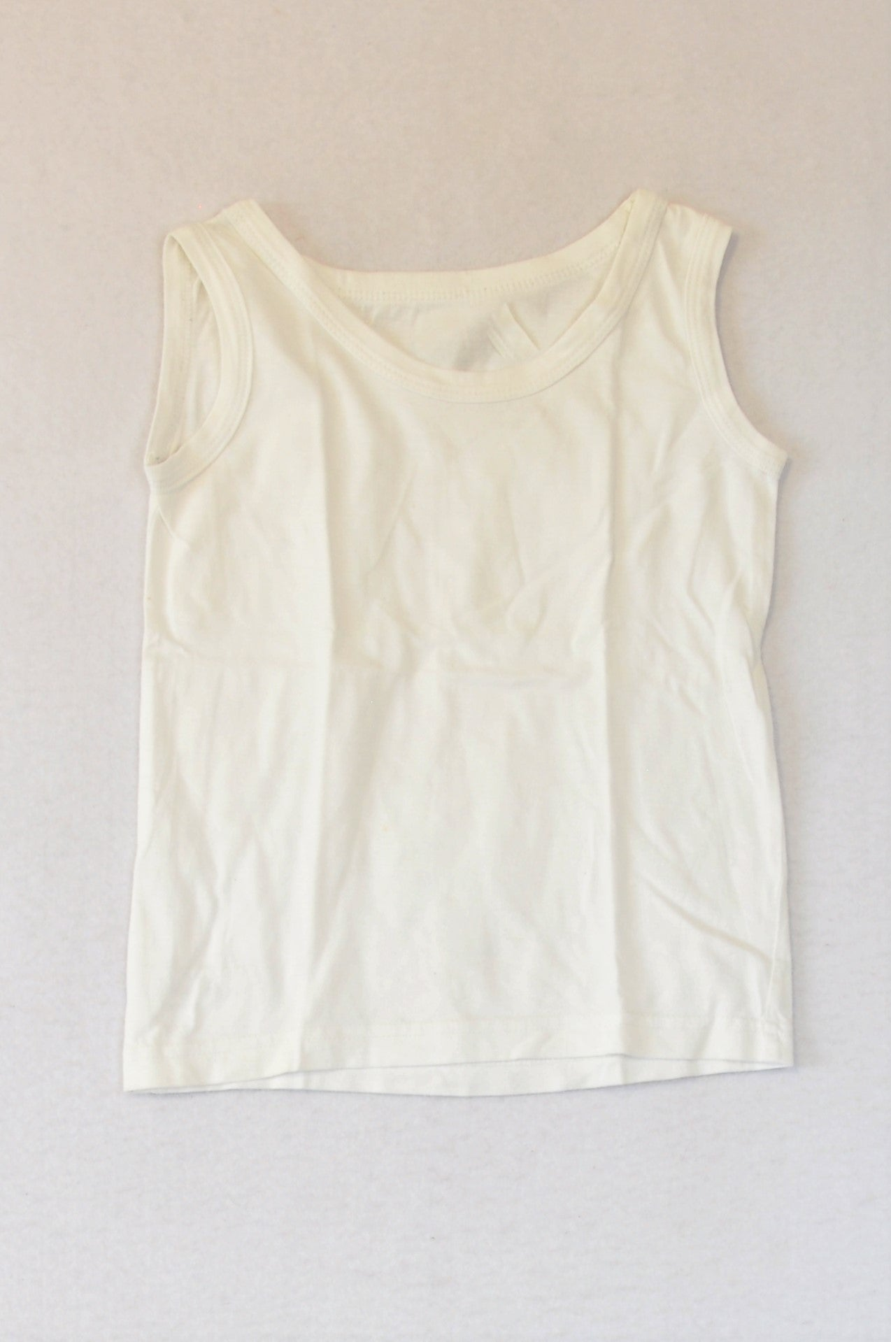 Woolworths White Basic Tank Top Unisex 4-5 years