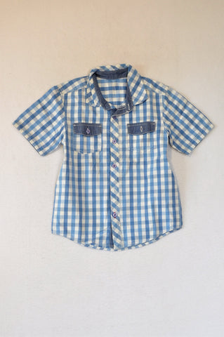 Woolworths Blue Check Chambray Shirt Boys 6-7 years