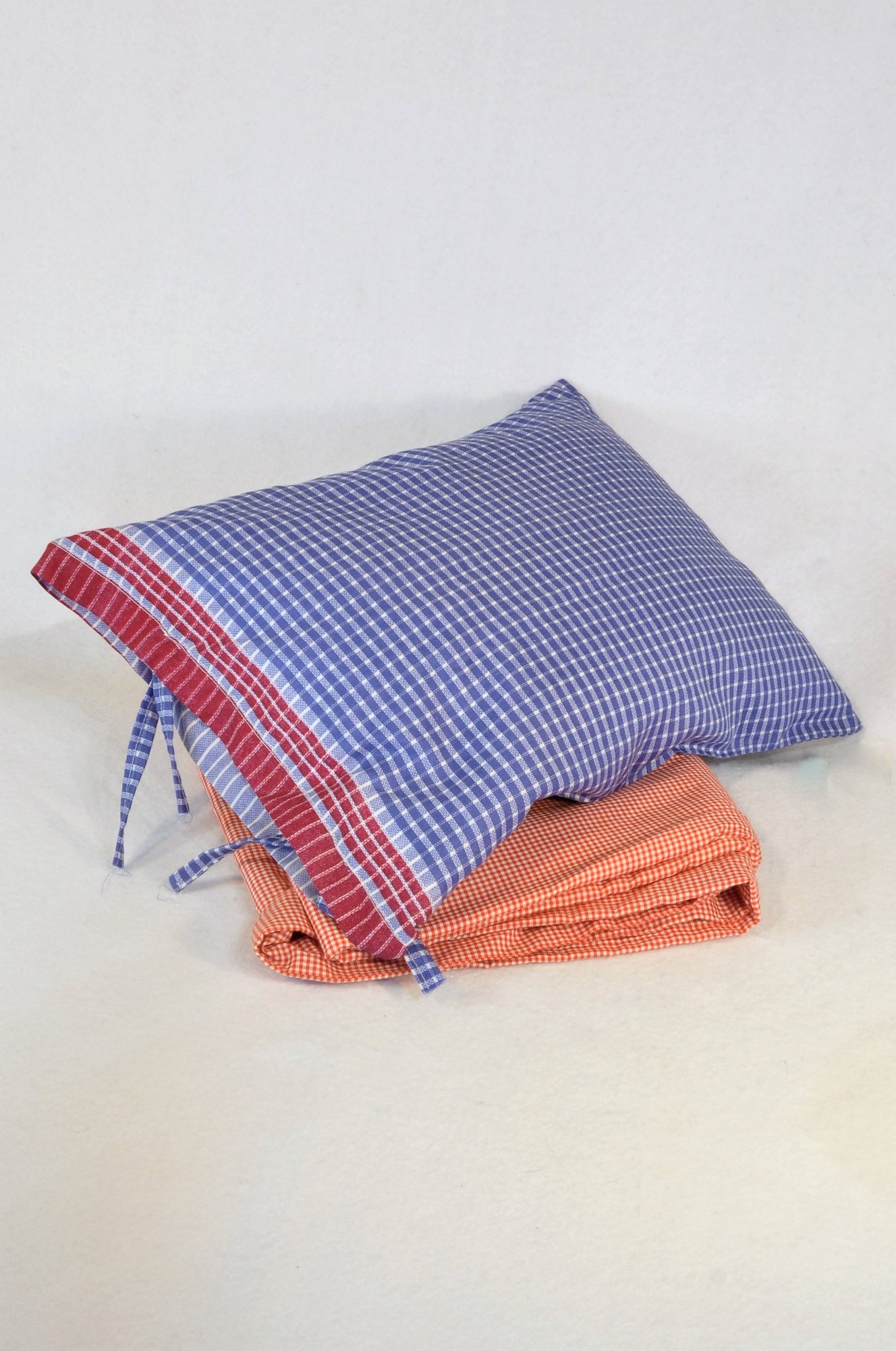 Unbranded Red Check Cot Duvet Inner & Cover,  and Navy Check Pillow Case with Pillow Bedding Set Unisex N-B to 2 years