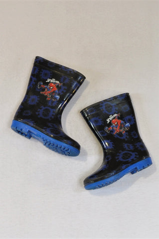 Marvel Size 8 Blue & Black Spiderman Wellington Boots Boys 2-3 years