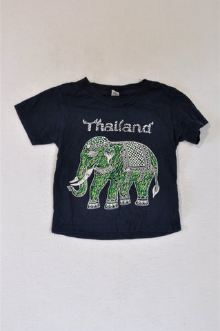 Unbranded Navy Green Thailand Elephant T-shirt Unisex 2-3 years