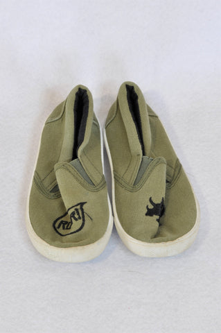 Pick 'n Pay Size 8 Olive Dinosaur Slip On Shoes Boys 2-3 years