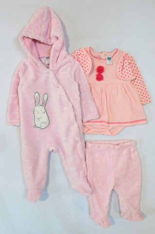 Ackermans Pink Heart Cardigan Overlay Babygrow, Fleece Footed Leggings And Fleece Footed Onesie Girls 0-6 months