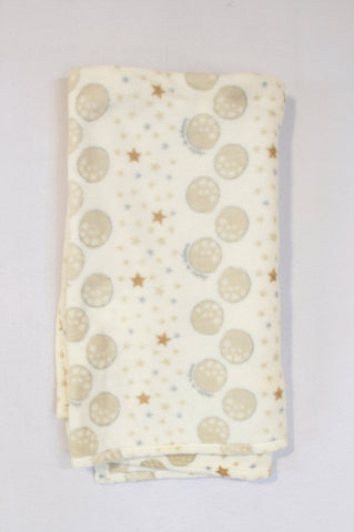 Woolworths Beige & White Star Fleece Blanket Unisex N-B to 2 years