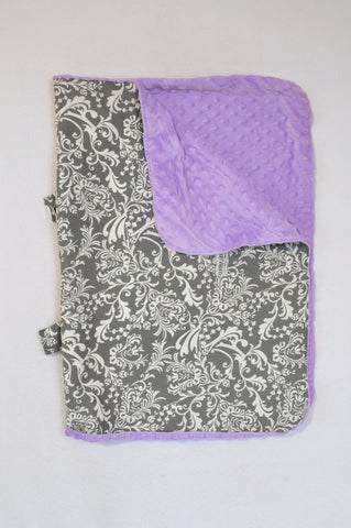 Carseat Canopy Lilac Minky & Grey Damask Car Seat Cover Unisex N-B to 2 years