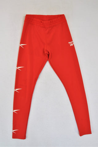Reebok Bright Red Sports Leggings Women Size XS