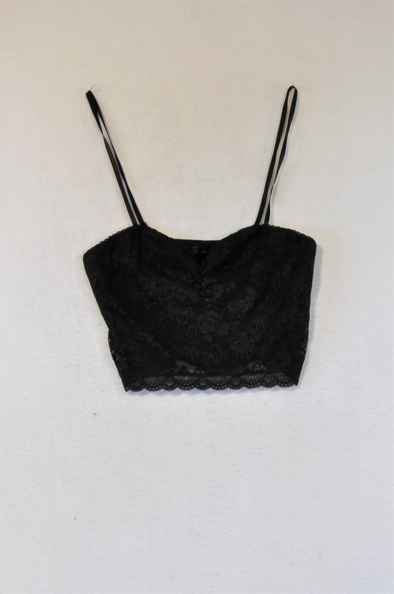 Unbranded Black Lace Ruched Bralette Top Women Size M