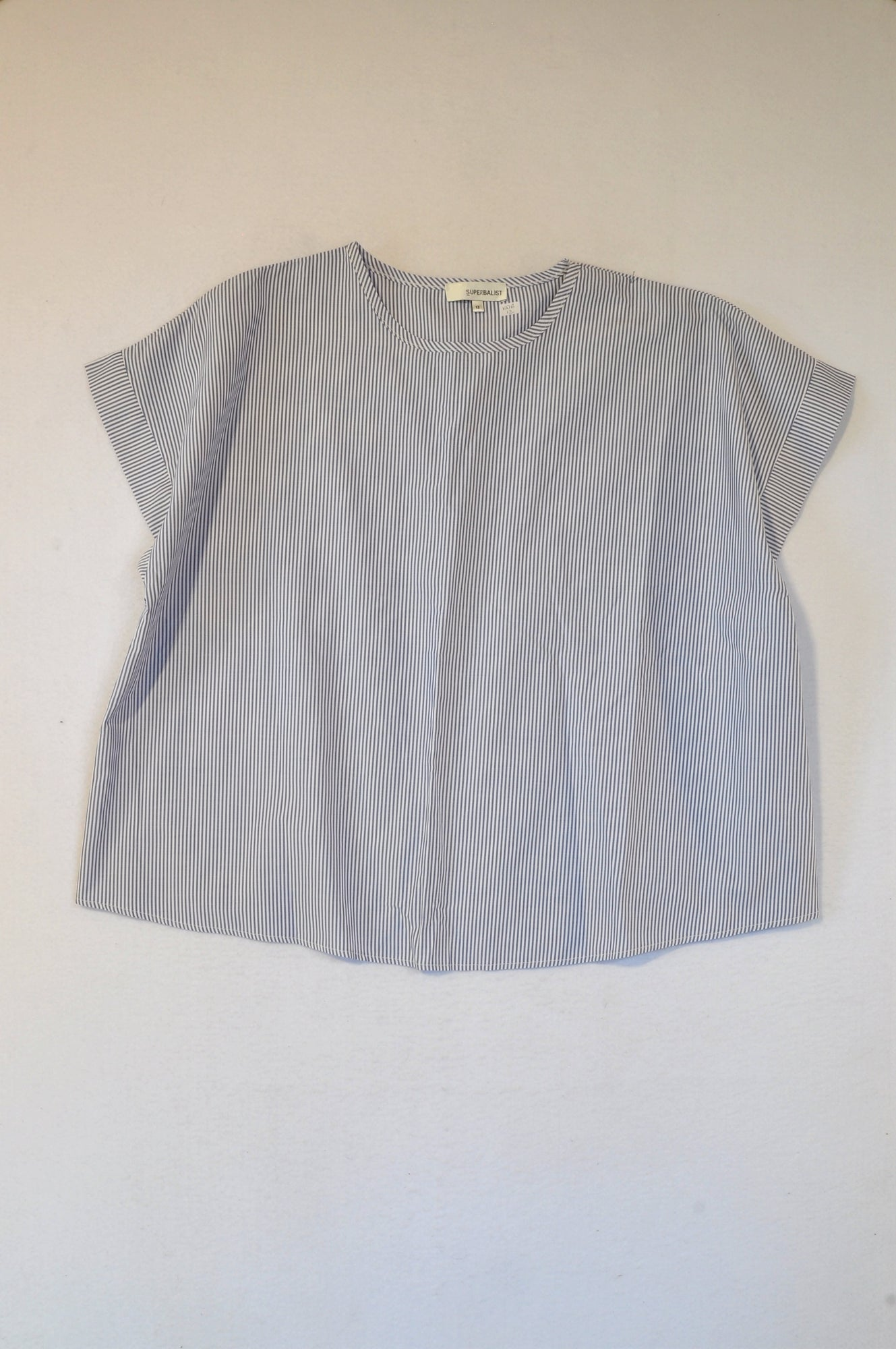 Superbalist Blue Pinstripe Lightweight Cropped T-shirt Women Size 12