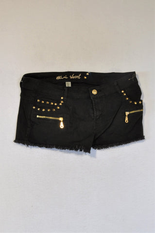 1996 Denim Co. Gold Stud Black Distressed Shorts Women Size 14