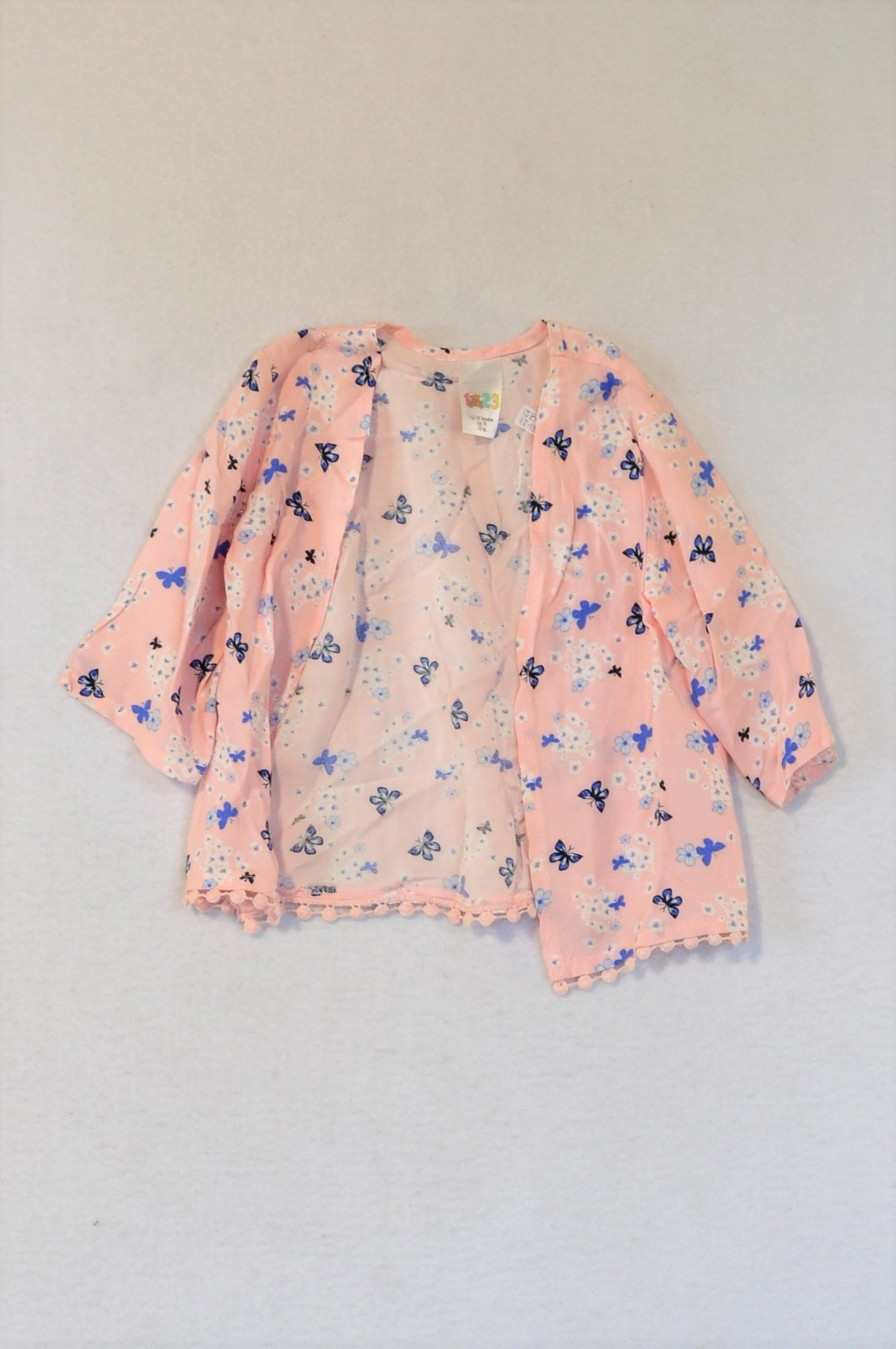 Edgars Light Pink & Blue Butterfly Kimono Jacket Girls 12-18 months