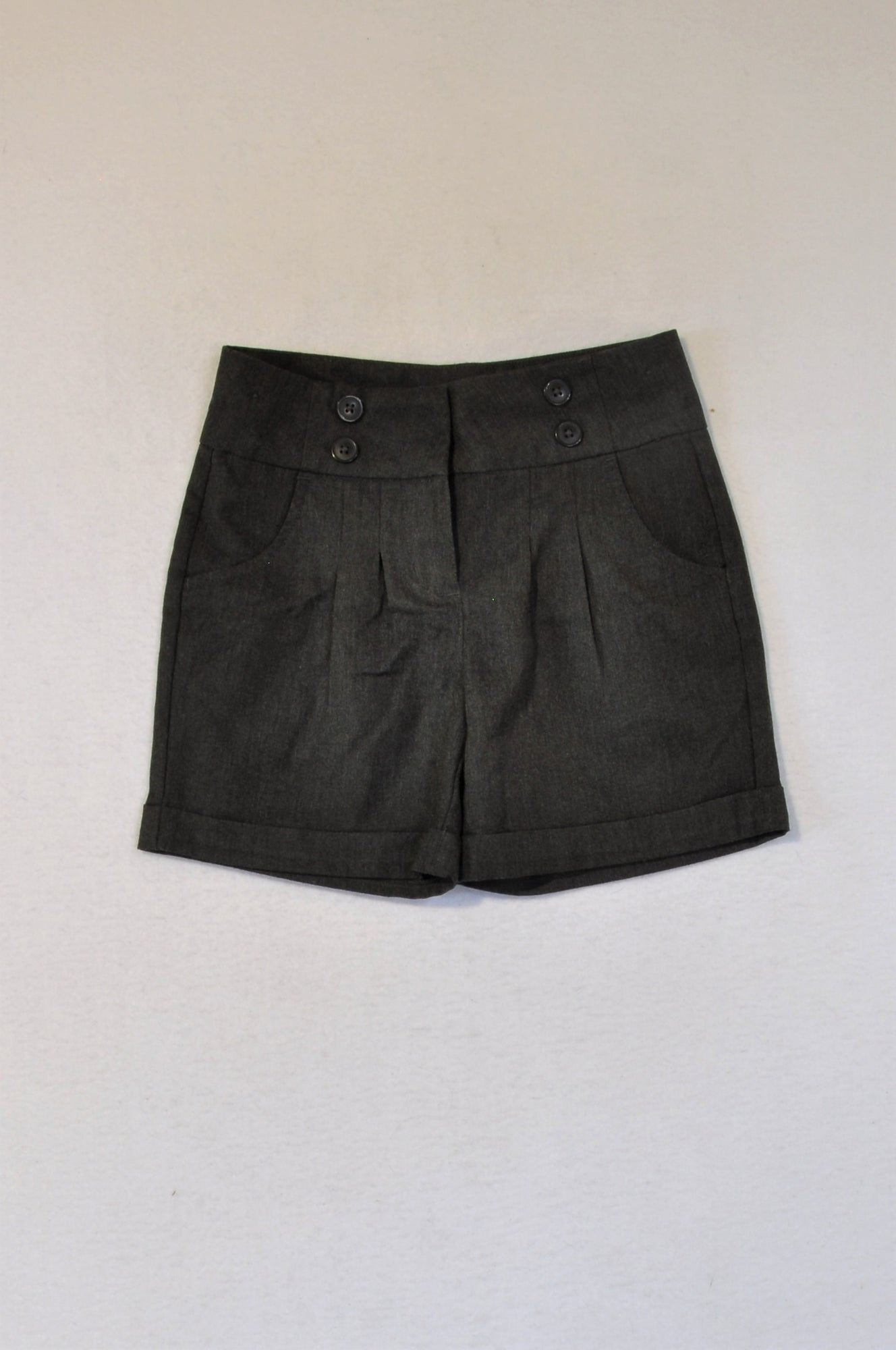 Next Charcoal Grey Double Button Shorts Girls 7-8 years