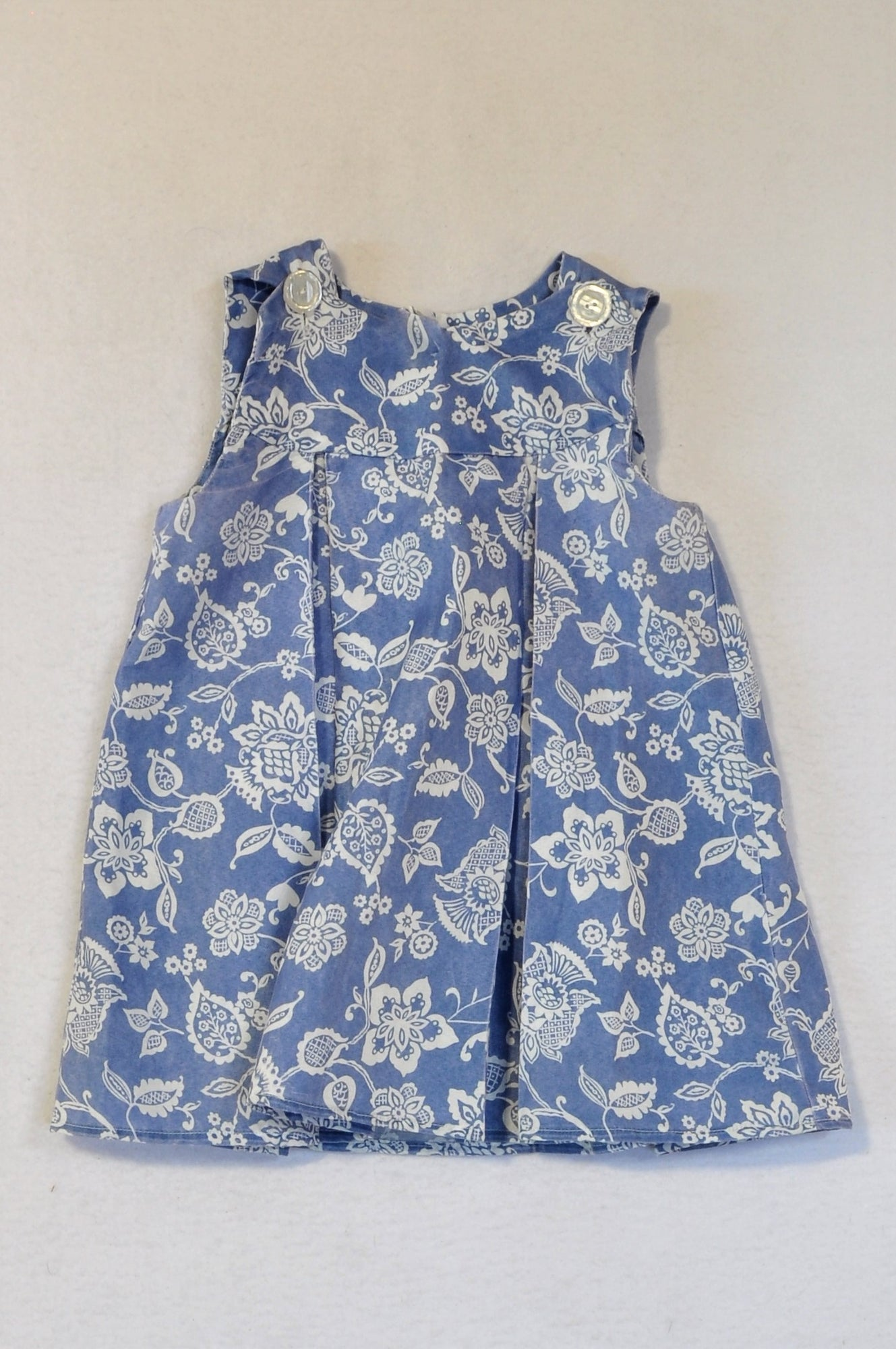 Unbranded Chambray & White Floral Shift Dress Girls 2-3 years