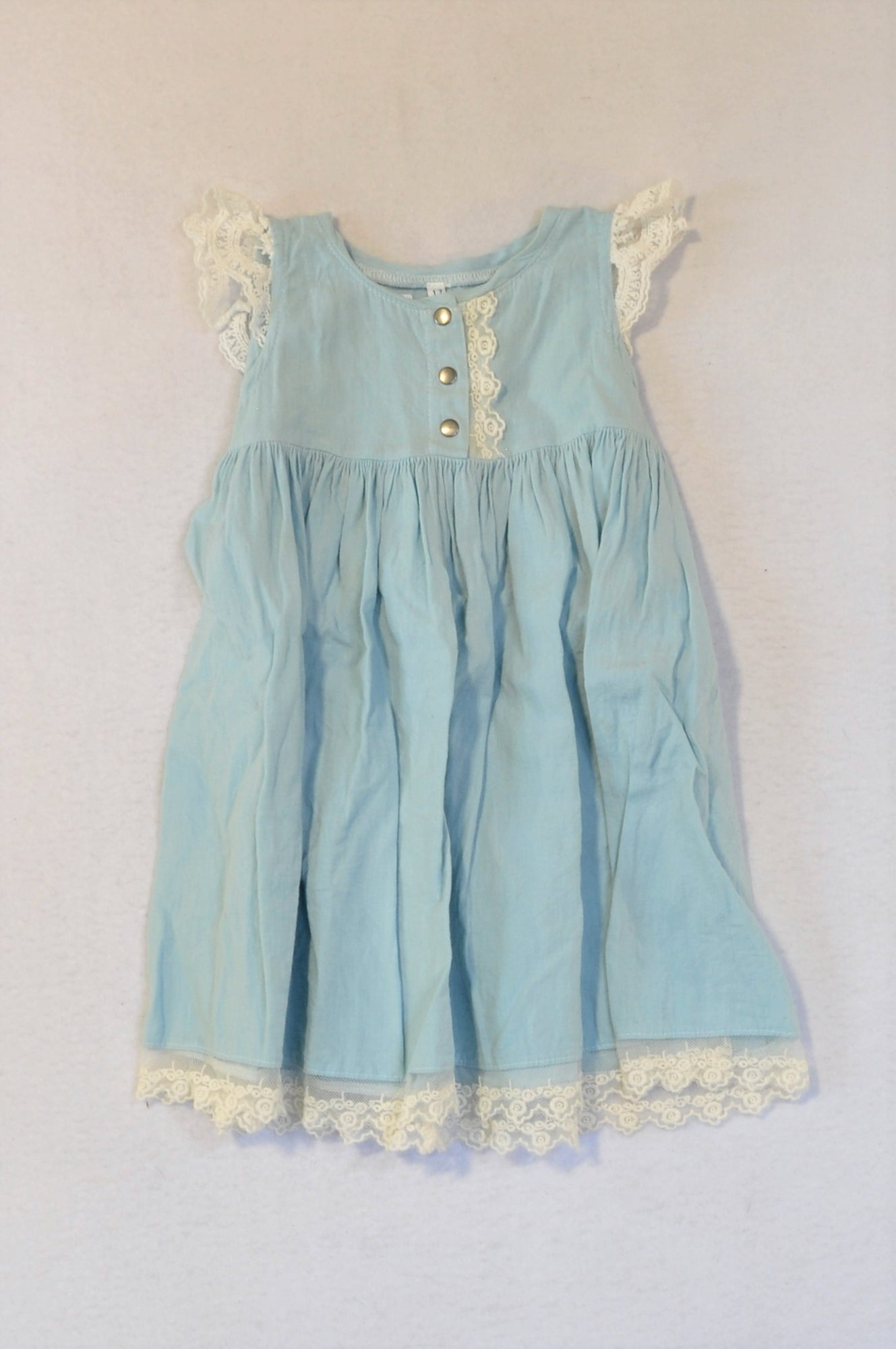 Meerkat Light Blue Lace Trim Dress Girls 1-2 years