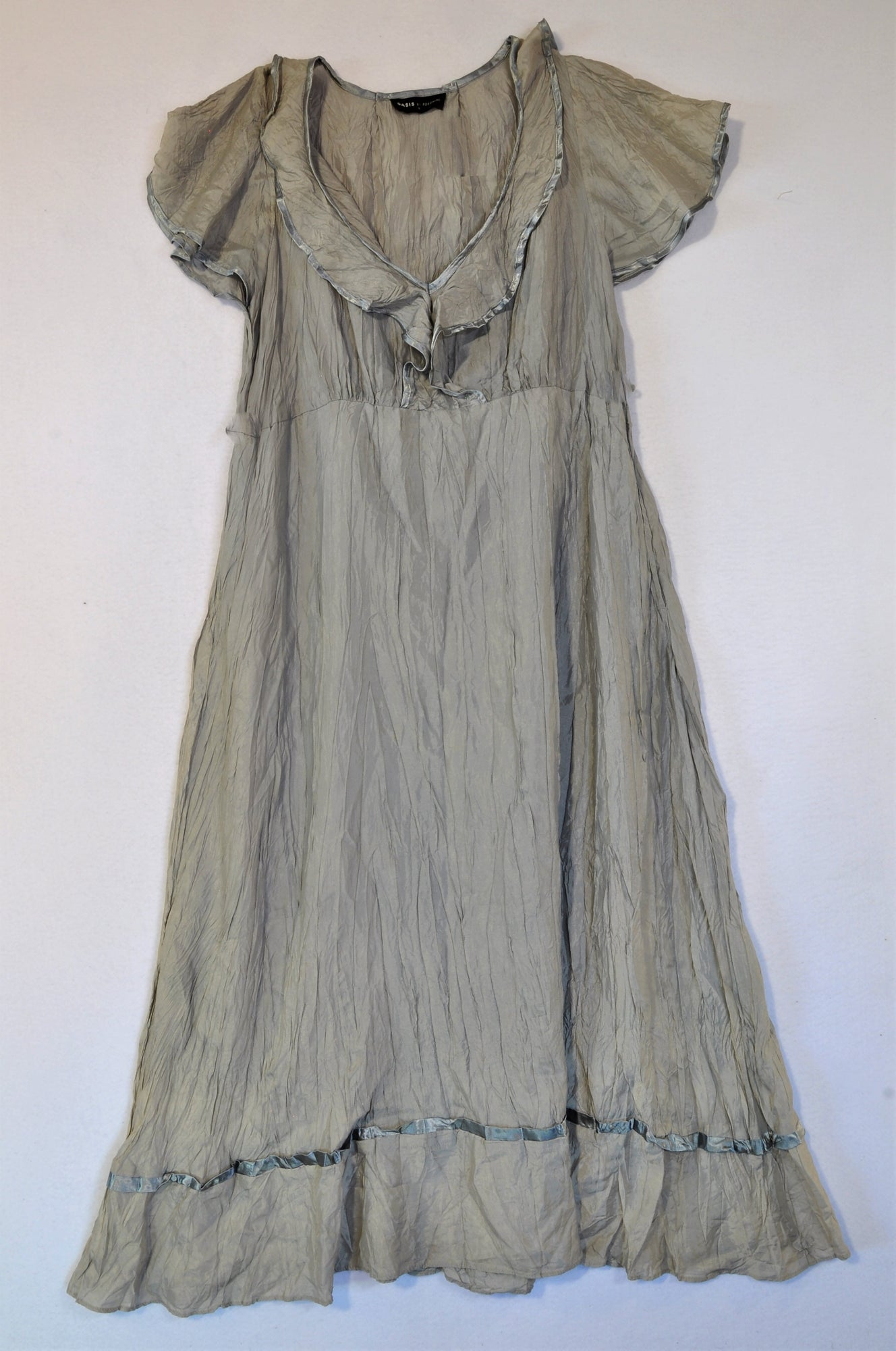 Oasis Grey Lightweight Ruffle Dress Women Size 16