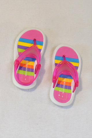 Woolworths Size 4 Multicolour Flip Flops Girls 12-18 months