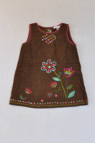 John Lewis Brown Corduroy Floral Embroidery Dress Girls 6-9 months
