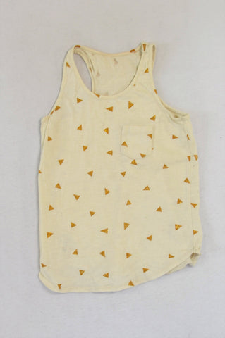 Woolworths Cream & Gold Triangle Tank Top Girls 11-12 years