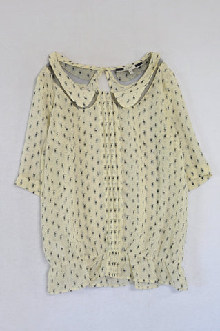 Next Ivory & Black Deer Sheer Blouse Women Size 6