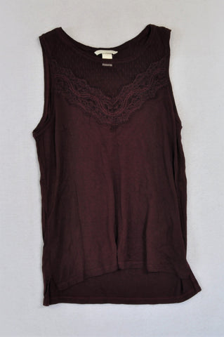 H&M Maroon Lace Inset Tank Top Women Size XS