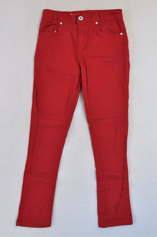 New Wave Red Denim Jeans Girls 11-12 years