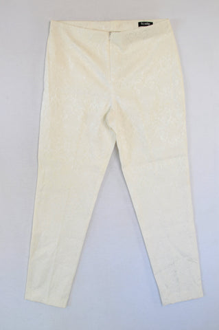 Ficelle Ivory Damask Embossed Pants Women Size 12