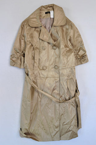 Jo Borkett Beige Metallic Short Sleeve Coat Women Size L