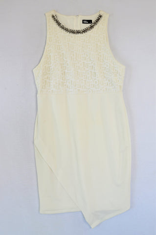 Foschini White Grey Diamante Neckline Dress Women Size 14