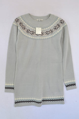 New Peacocks Light Grey Fair Isle Longer Length Jersey Women Size S
