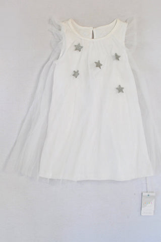 New Keedo White Silver Star Tulle Dress Girls 4-5 years
