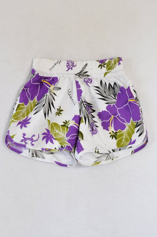 Sparkle White & Purple Tropical Swim Shorts Women Size XS