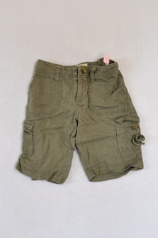 Old Navy Olive Linen Cargo Shorts Girls 7-8 years