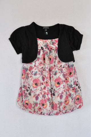 George Pink & White Floral Black Cardigan Overlay Dress Girls 7-8 years
