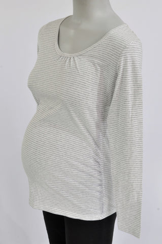 Mamas & Papas Grey & White Striped Long Sleeve Maternity T-Shirt Size 10