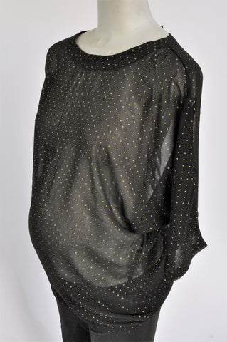 MeaMama Black Sheer Dotted Maternity Blouse Size S