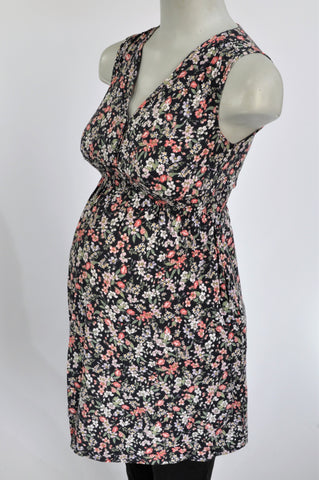 H&M Black With Multiple Flowers Maternity Dress Size XS