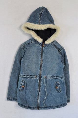 Woolworths Denim Fleece Lined Hooded Jacket Girls 8-9 years