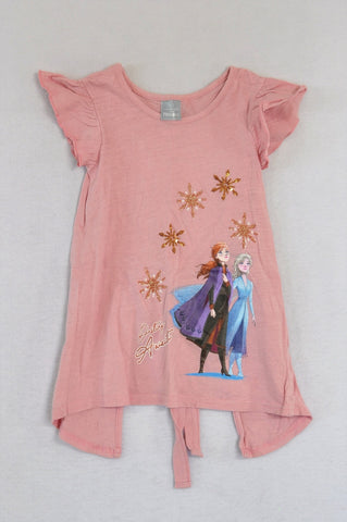 Disney Dusty Pink Open Back Frozen T-shirt Girls 6-7 years