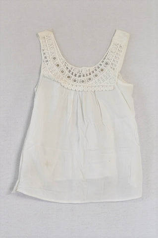 Woolworths White Crochet Neckline Top Girls 5-6 years