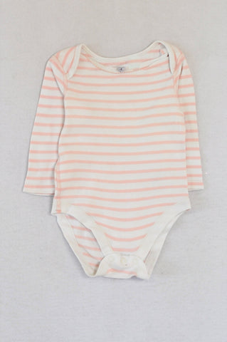 Marks & Spencers Light Pink Striped Baby Grow Girls 9-12 months