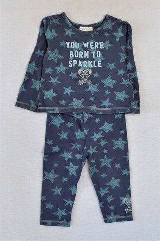 Naartjie Navy & Blue Star Born To Sparkle Outfit Unisex 12-18 months