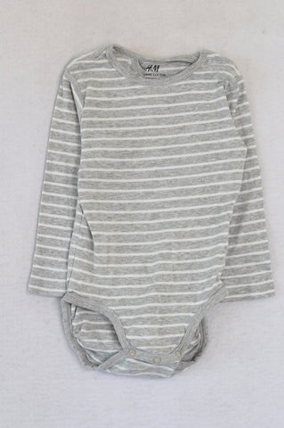 H&M Grey & White Striped Organic Cotton Baby Grow Unisex 1-2 years
