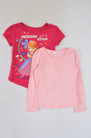 Unbranded 2 Pack Pink  T-Shirts Girls 4-5 years