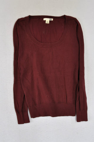 H&M Maroon Roundneck Jersey Women Size S
